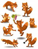 pic of fable  - cartoon fox doing different activities - JPG