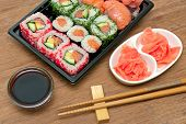 picture of soy sauce  - Japanese rolls and sushi soy sauce and pickled ginger - JPG
