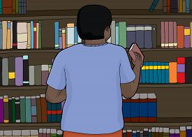 stock photo of librarian  - Rear view of librarian organizing book shelf - JPG
