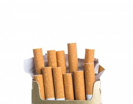 picture of box-end  - Box of cigarettes isolated on a white background - JPG