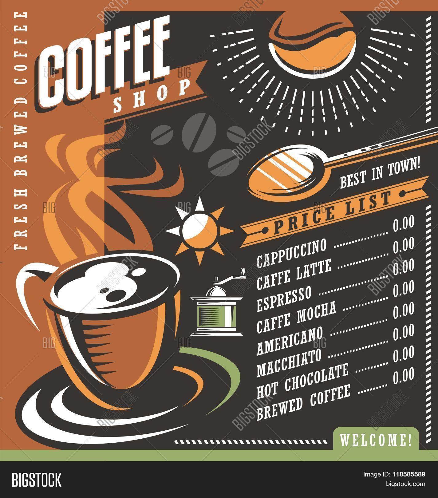 Coffee House Menu Creative Template Cafe Price List With Cup Of And Beans