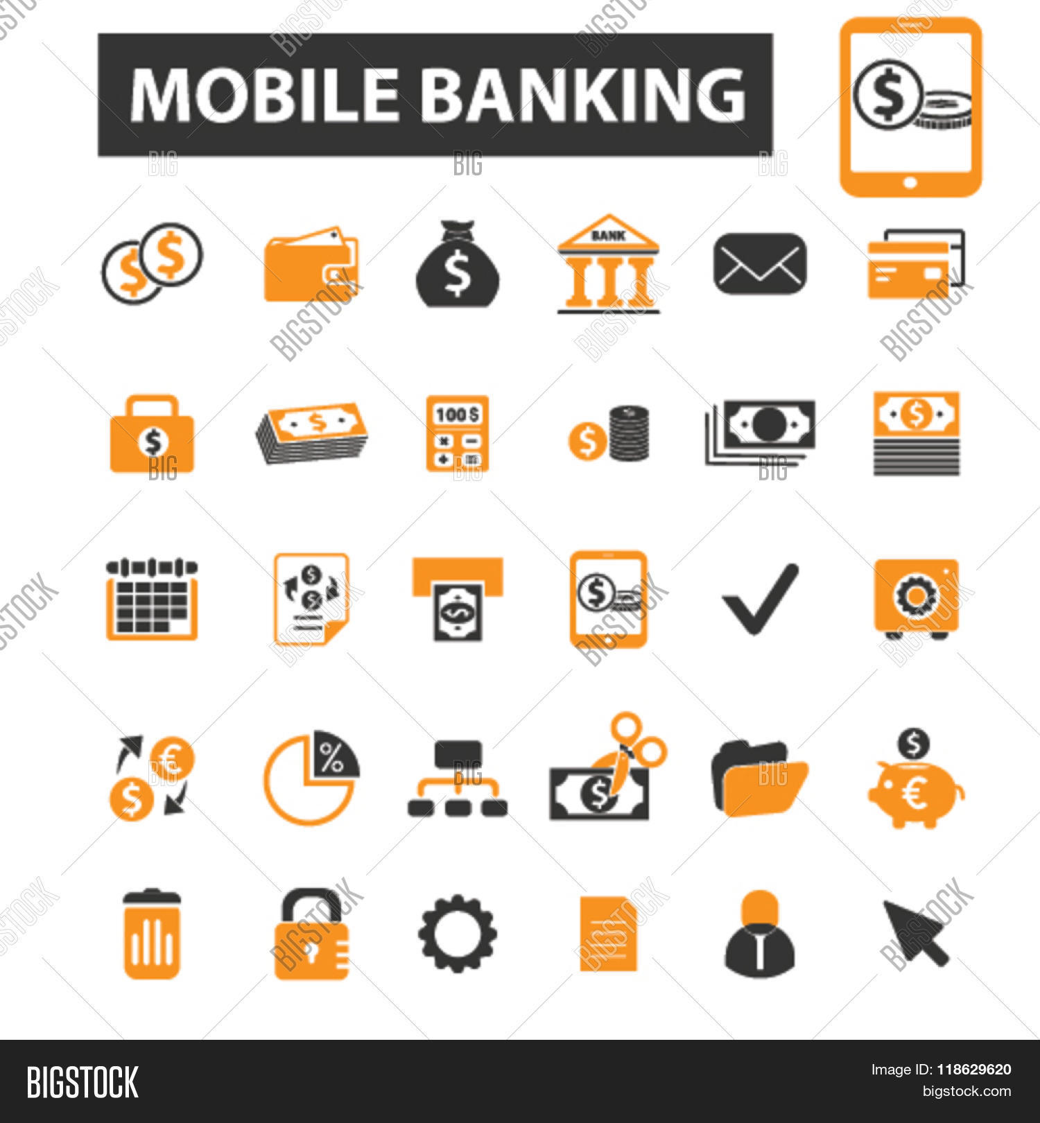 Mobile Banking Icons, Mobile Vector & Photo | Bigstock