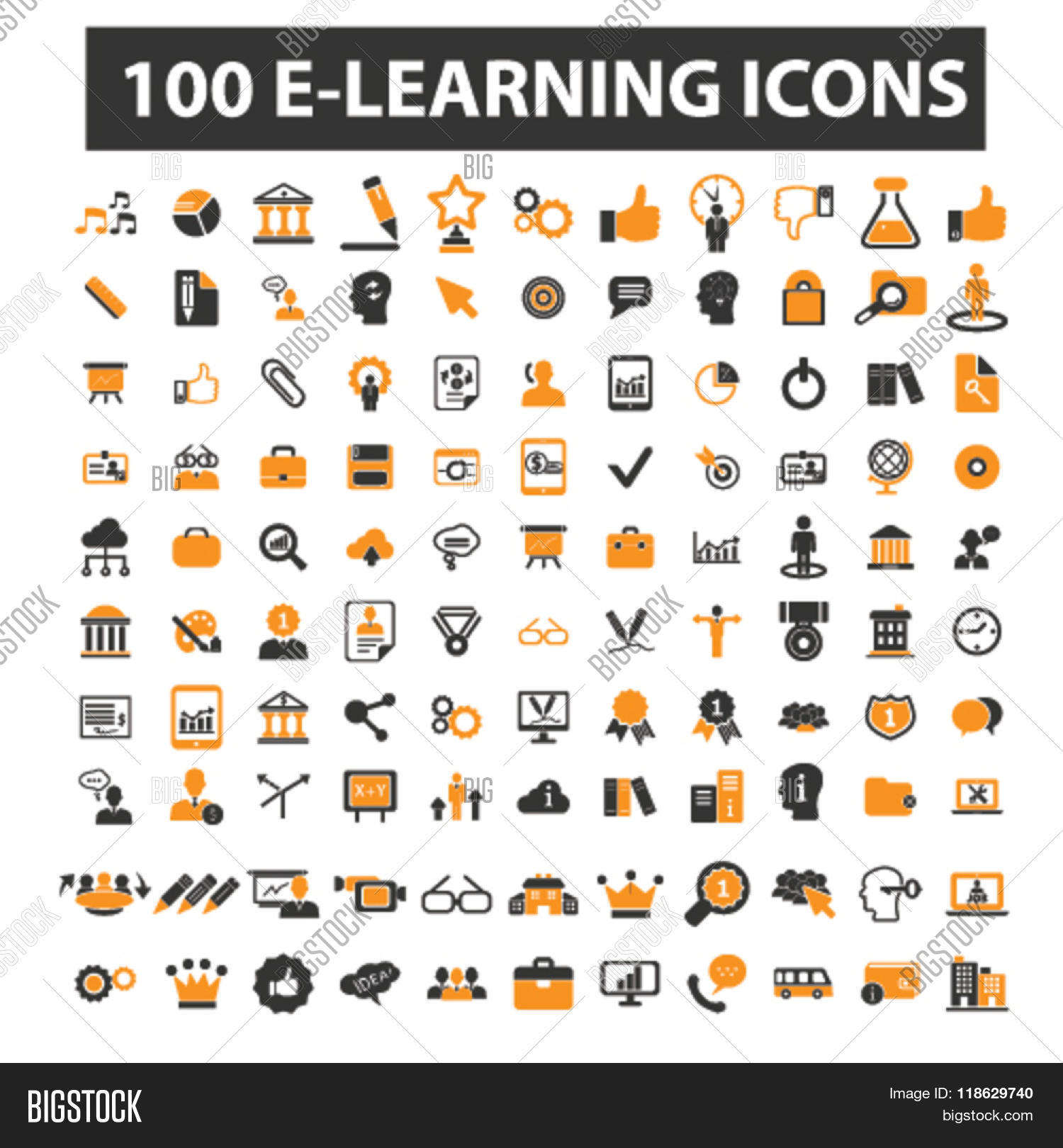 Learning Icons Set Collection Of Mechanism Parts