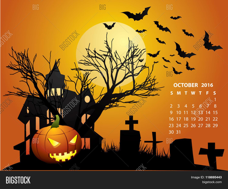 October Calendar  Halloween 2016 Stock Vector &amp Stock - 2016 Halloween Calendar