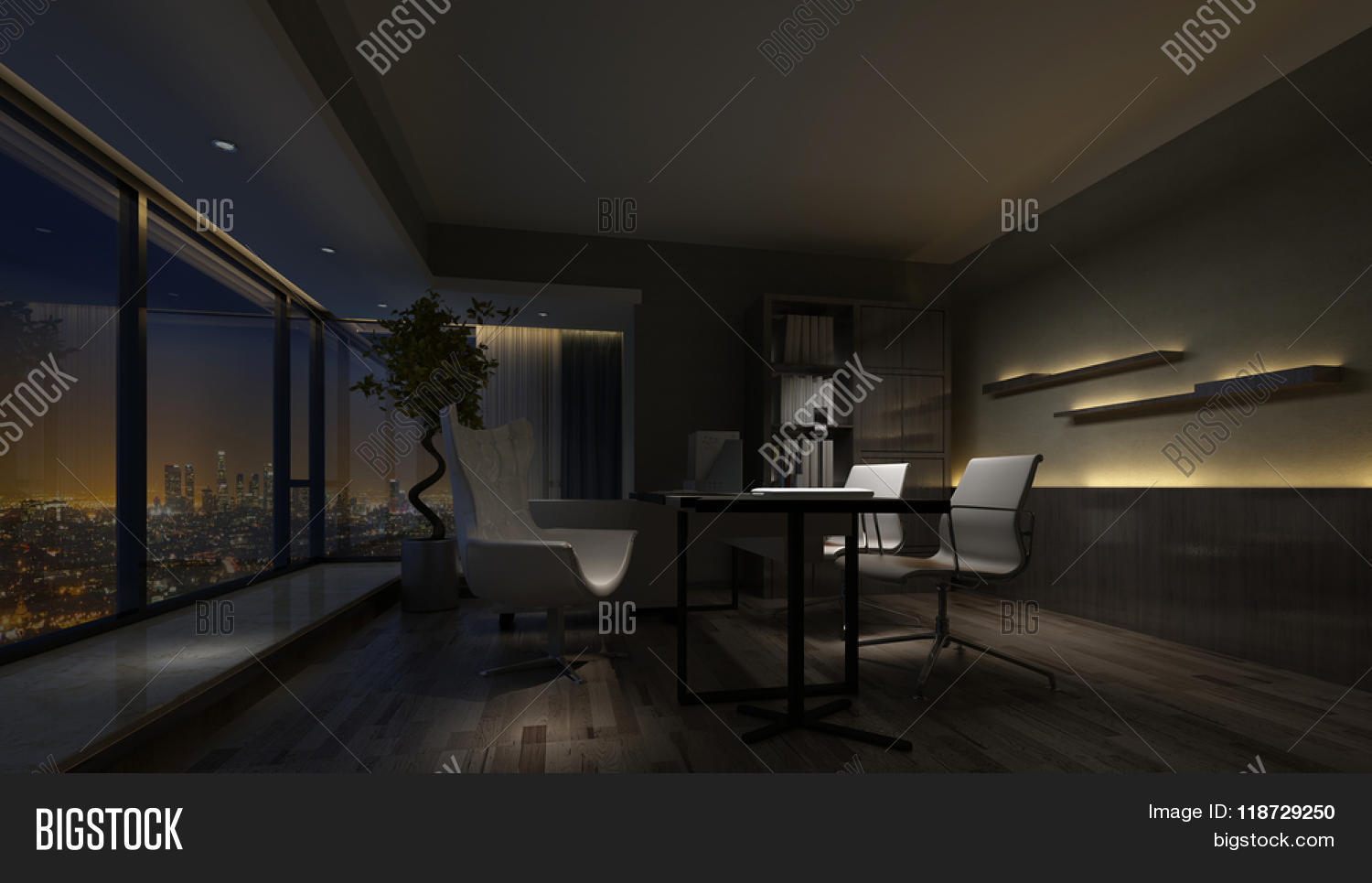 Darkened dimly lit empty interior image photo bigstock for Image city interiors
