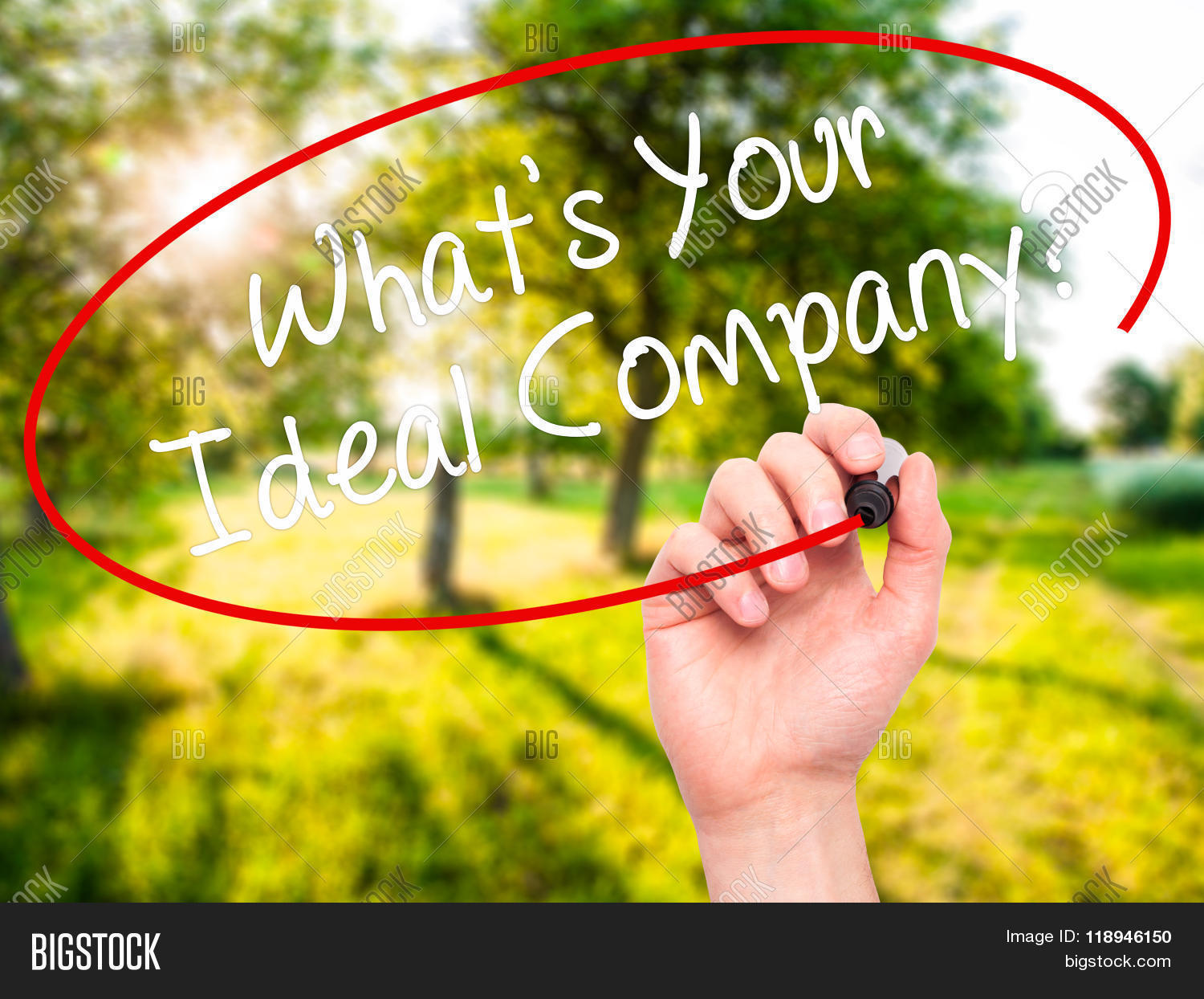 man hand writing whats your ideal company black marker on man hand writing whats your ideal company black marker on visual screen