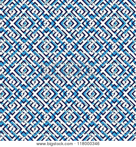 Blue abstract seamless pattern with interweave lines. Vector overlay pattern with geometric figures. Endless decorative background. Op art.