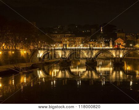Ponte Sant Sisto Reflected In The Tiber River, Saint Peter Dome In The Background, Rome
