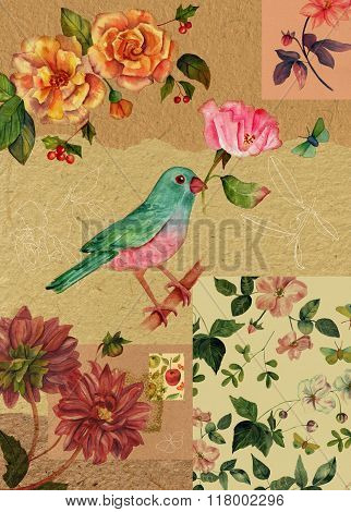 Vintage Style Collage With Watercolor Drawings Of Bird, Rose, Butterfly