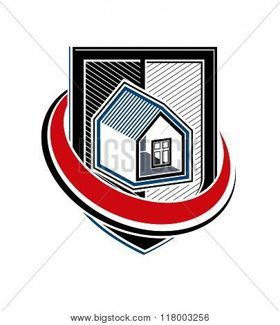 Home Insurance Vector Conceptual Icon, Protection Shield With A Simple House. Design Element, Constr