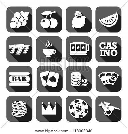 The set of gray flat monochrome casino icons. Slots