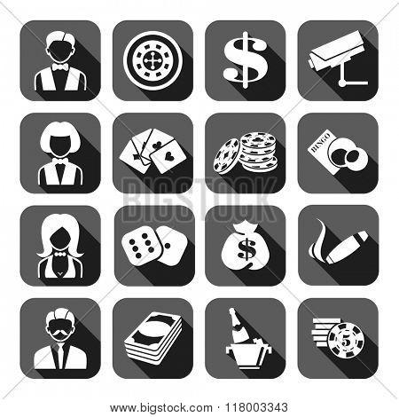 The set of gray flat monochrome casino icons. Slot machine.