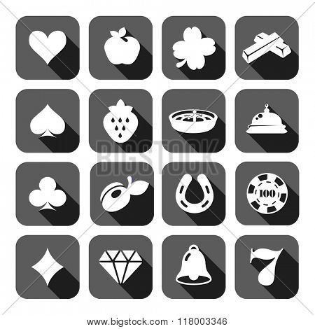 The set of gray flat monochrome slot machine casino icons.