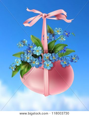 Happy Easter spring illustration for poster with egg on blue sky background