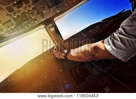 Airliner Pilot At Work - View From The Cockpit