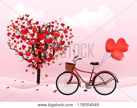 Valentine's Day background with a heart shaped tree and a bicycle with heart shaped balloons.