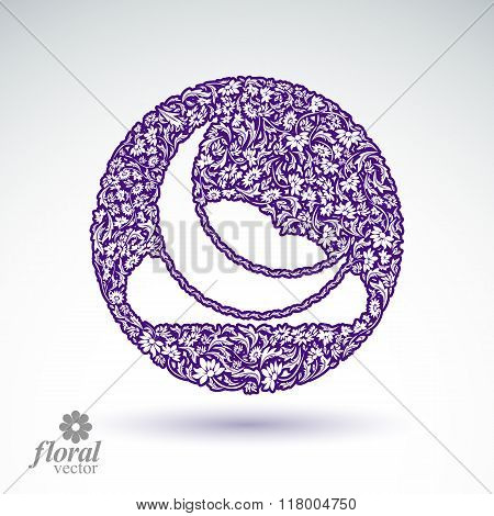 A New Moon With A Cloud Beautiful Art Illustration, Floral Lullaby Conceptual Icon – Nighttime Symbo