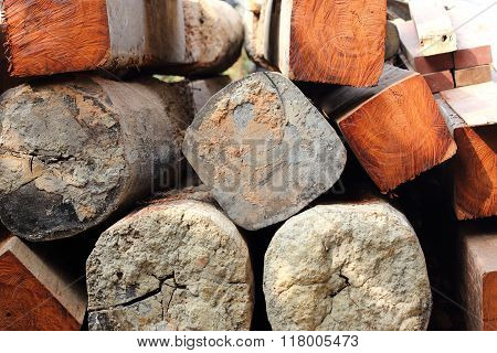 Logs Prepare For House Construction