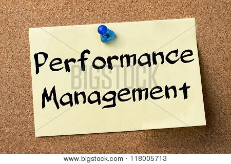 Performance Management - Adhesive Label Pinned On Bulletin Board