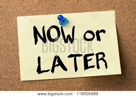 Now Or Later - Adhesive Label Pinned On Bulletin Board