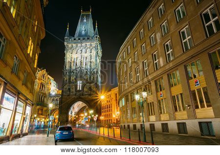 Night view of the Powder Tower or Powder Gate in Prague, Czech R