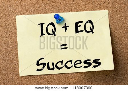 Iq + Eq = Success - Adhesive Label Pinned On Bulletin Board