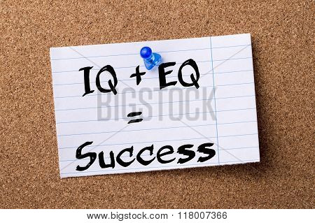 Iq + Eq = Success - Teared Note Paper  Pinned On Bulletin Board