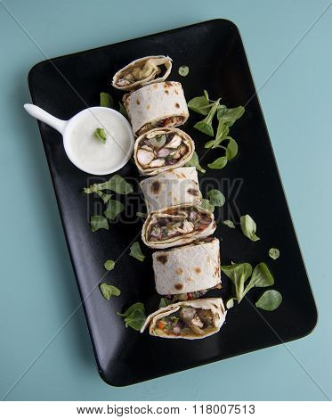 tacos mexican tortilla wrap with chicken breast and vegetables