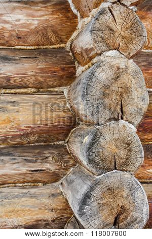 Natural Background Made Of Old Logs