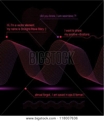 Sophisticated 3D Curve Decoration, Clear Eps8 Romantic Heart Vector Illustration, Motif Aerial Seaml
