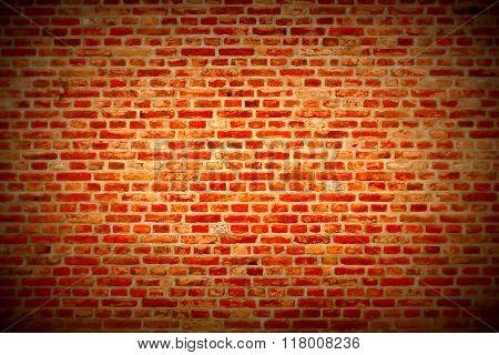 Brick Wall Horizontal Background With Red, Orange And Brown Bricks - Dark Red