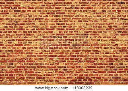 Brick Wall Horizontal Background With Red, Orange And Brown Bricks - Orange Version