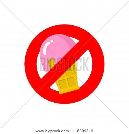 Stop Ice Cream. Red Forbidding Sign For Sweet Dessert With Strawberry Taste. Ban Cold Dairy Delicacy