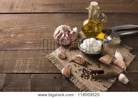 Garlic Dip On Wooden Background