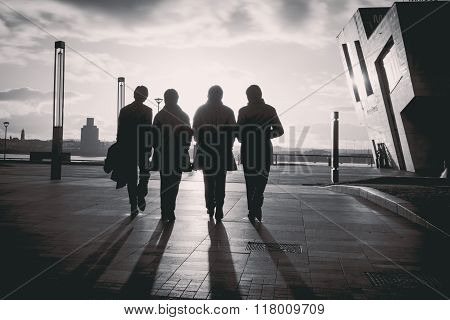 A Statue of The Beatles on the Waterfront of Liverpool