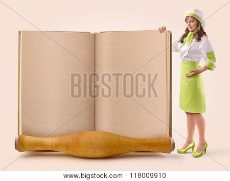 cook girl shows a page of an old book