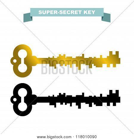 Super Secret Key. Old Vintage Retro Key Lock. Key Opens A Secret Door.