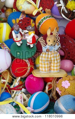 Easter decoration rabbit and eggs