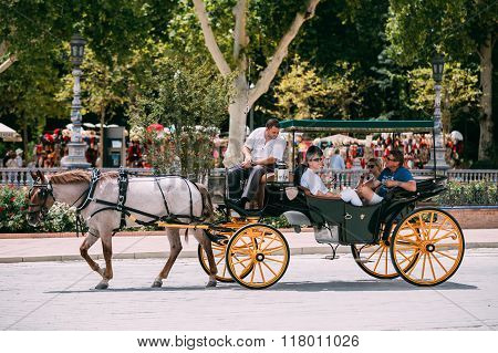 Horse drawn carriage in Plaza de Espana in Seville, Andalusia.