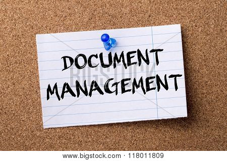 Document Management - Teared Note Paper  Pinned On Bulletin Board