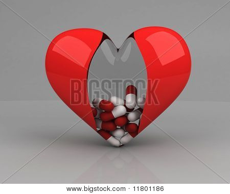 Transparent Heart With Pills Inside Over Grey Background