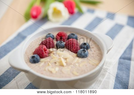Home made porridge with fresh fruit