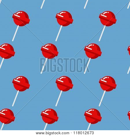 Lollipop Seamless Pattern. Red Sweet Candy Texture. Strawberry Sweets Taste Repeating Background. Cu