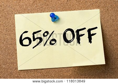 65 Percent Off - Adhesive Label Pinned On Bulletin Board