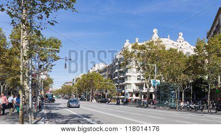 Passeig De Gracia And La Pedrera, Barcelona
