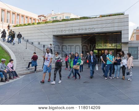 People Around The Entrance Of The Prado Museum