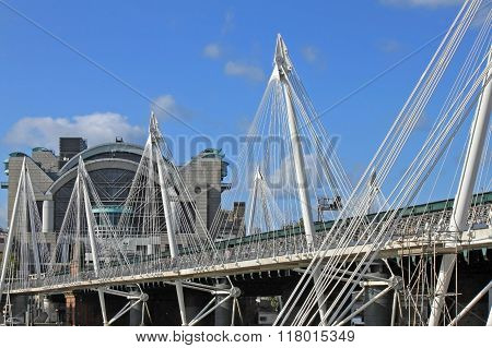 Hungerford Bridge And Golden Jubilee Bridges In London
