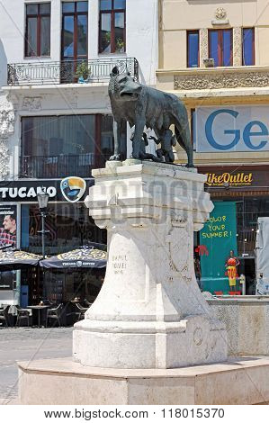 Capitoline Wolf Statue In The Roman Square In Bucharest, Romania