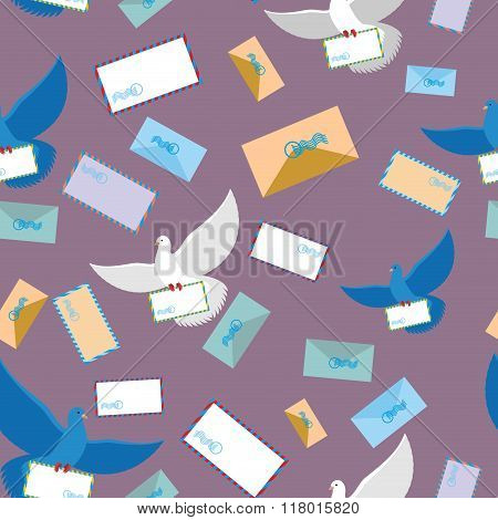 Postal Pigeon Dove Seamless Pattern. Envelope And Letter Paper. Flying Bird. Background Of Birds And