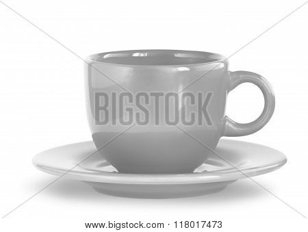 Gray Coffee Cup With Plate